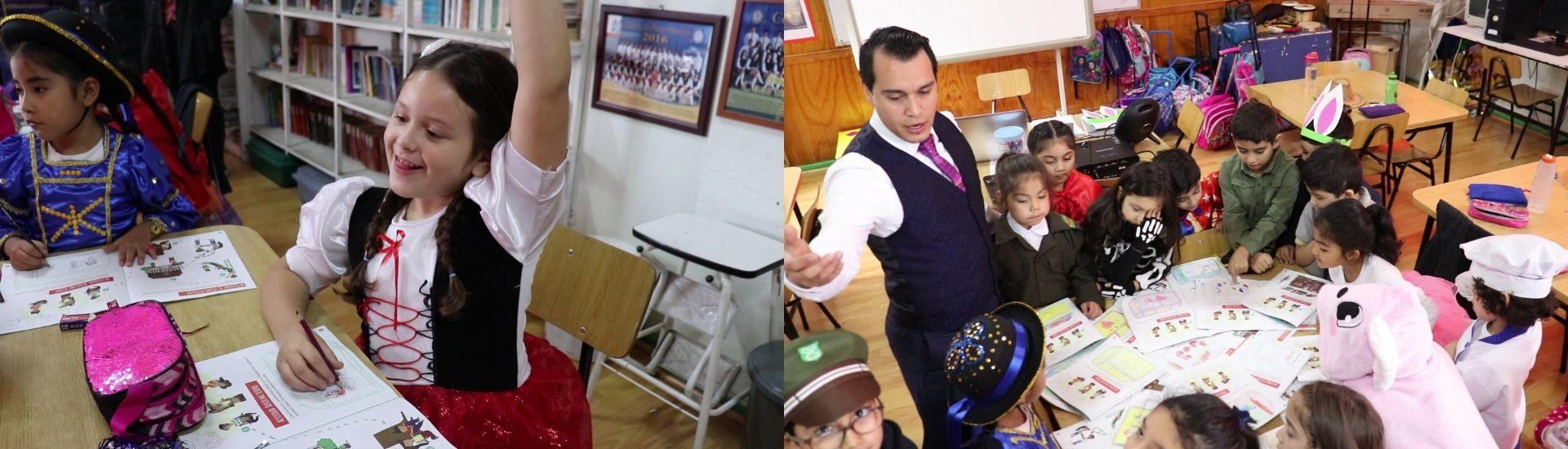 Dos fotos donde aparece el profesor Antonio y sus estudiantes con disfraces