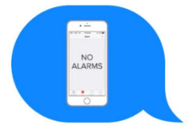 Imagen de emoji donde sale un celular que dice NO ALARMAS