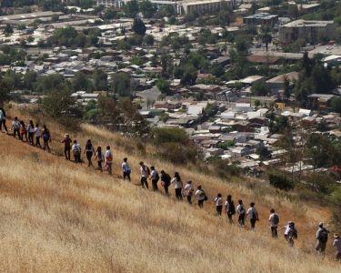 Una foto de los estudiantes en el cerro