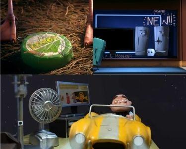 Se muestran tres imagenes de tres cortos distintios, en la imagen del costado superior izquierdo aparece un producto de plástico a las pies de una gavoita, al lado aparece un refrigerador antiguo y otros muy nuevos y en la de abajo aparece un hombre malgatando mucha energía con su auto y luces encendidas