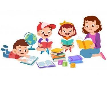 Ilustración de niños y niñas aprendiendo, en conjunto con sus familias, a leer y escribir.
