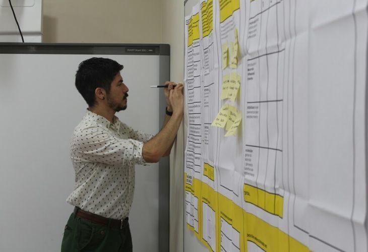 Foto persona escribiendo en el lienzo que viene en el kit de trabajo