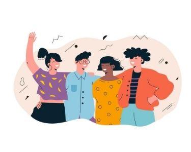 Ilustración de cuatro jóvenes estudiantes abrazados