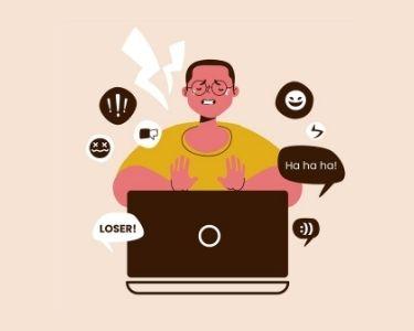 Ilustración que muestra a un estudiantes siendo acosado desde su pantalla
