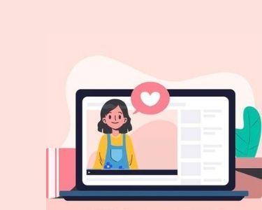Imagen de una niña dentro de una pantalla de un computador