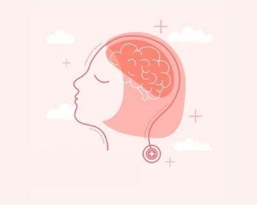 Ilustración de una mujer respirando con los ojos cerrados