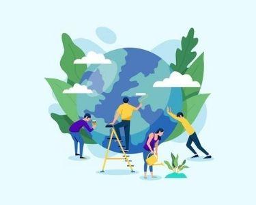 Ilustración de personas limpiando el Planeta Tierra