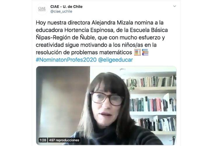 Imagen de un tuit de Alejandra Liazama
