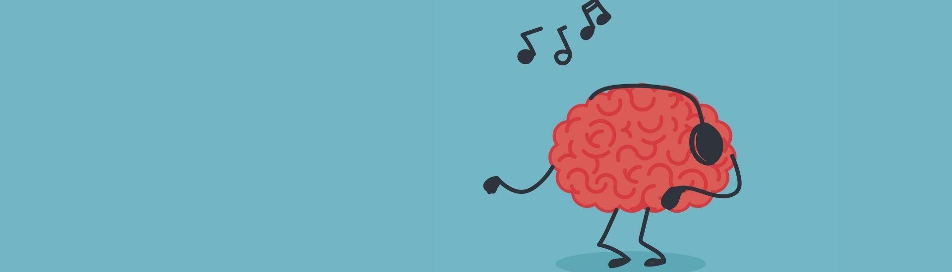 Ilustración de un cerebro con unos audífonos