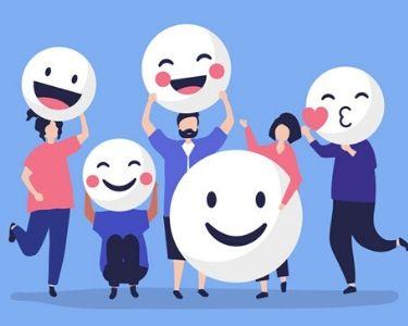 Ilustración de personas con emoji de felicidad en su rostro