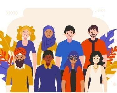 Ilustración de personas de diferentes culturas,
