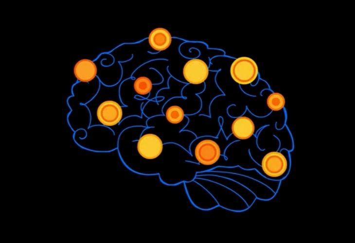 muchas lucen que simbolizan la actividad cerebral con la musica