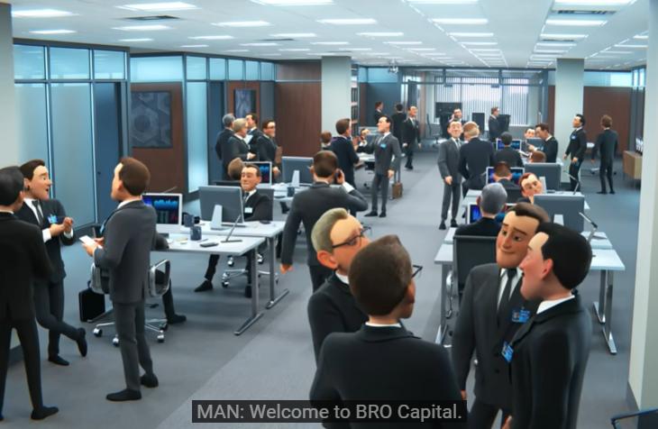 Una oficina llena de hombres, poco inclusiva