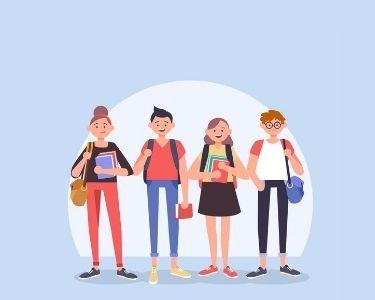 ilustración de estudiantes