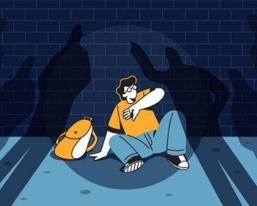 ilustracion persona asustada arrinconada