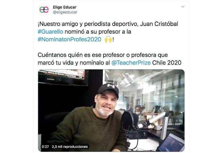 Imagen del tuit de Juan Guarello para sumarse a la nominatón