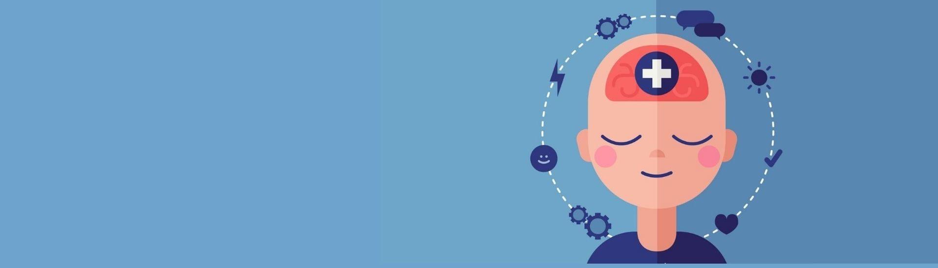 Un niño teniendo un proceso mental de pensamiento, se ve una ilustración de primer plano, en tonos azules. El niño está con una expresión de tranquilidad