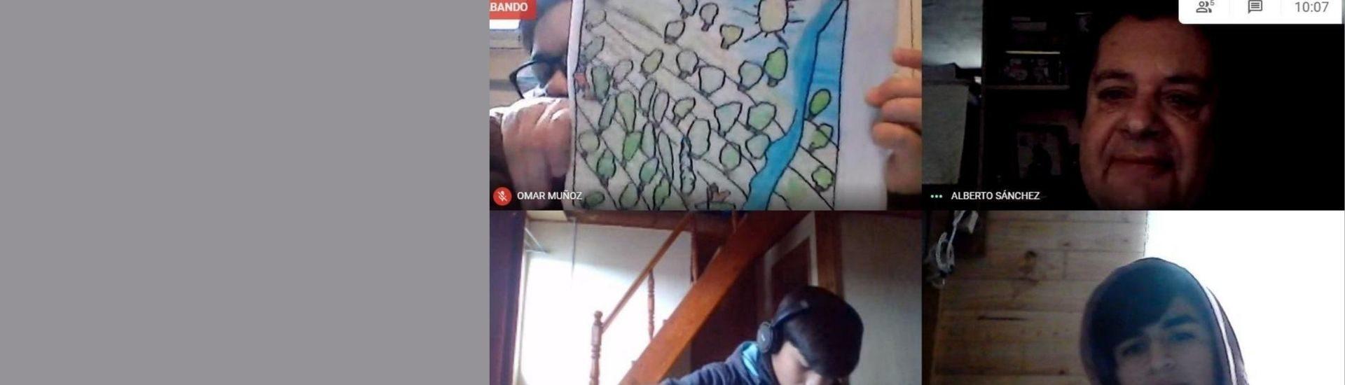 Pantallazo de una clase del profesor Alberto vía Google Meet