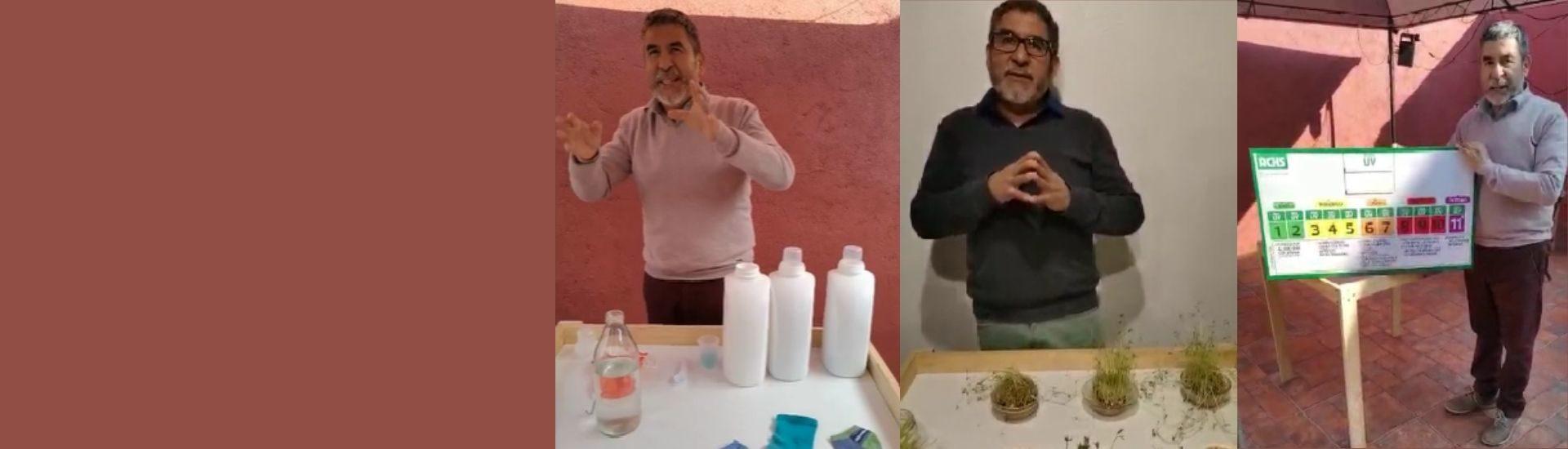 El profesor de ciencias y tecnología, Patricio Acuña, mostrando ideas innovadoras para superar los obstáculos de la pandemia