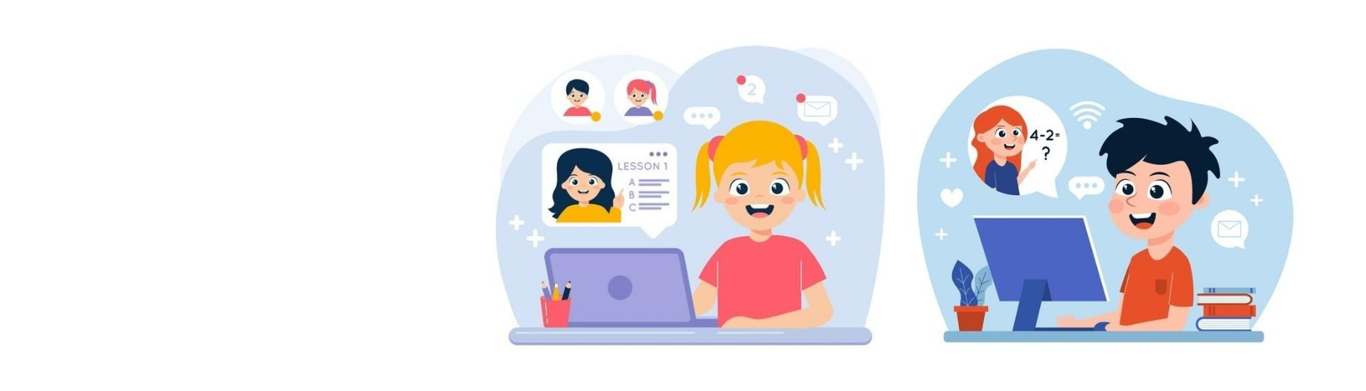 Ilustración de dos estudiantes realizando clases en línea