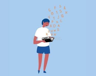 Ilustración de un niño leyendo un libro, de este salen letras revueltas y él se muestra con cara de confundido.