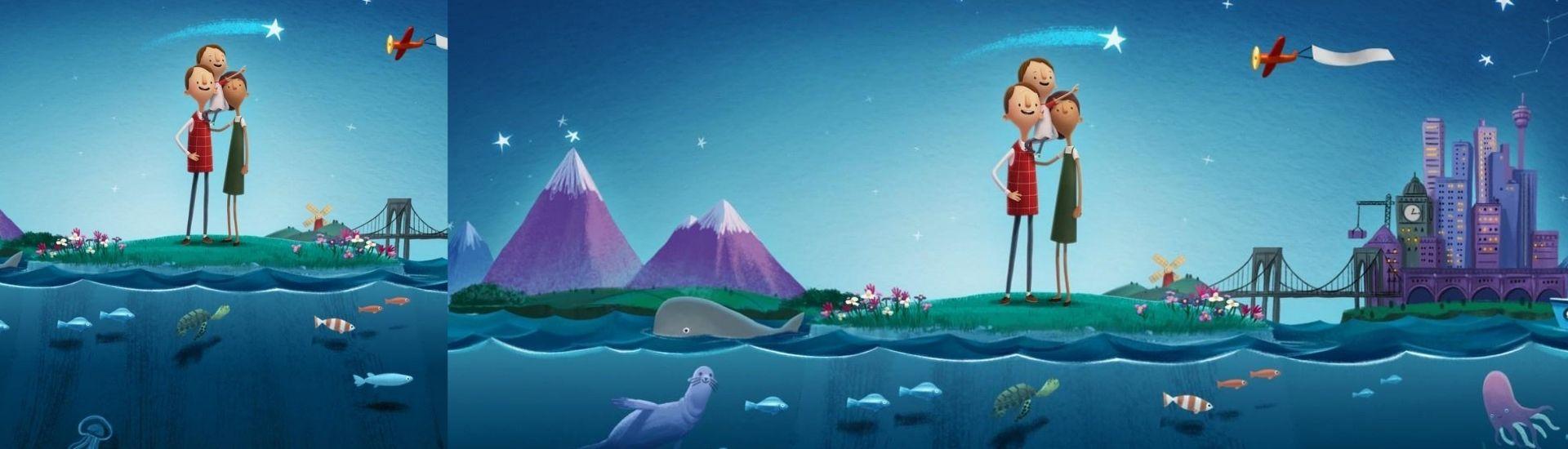Ilustración que muestra a los protagonistas de la historia del corto en una parte del Planeta Tierra