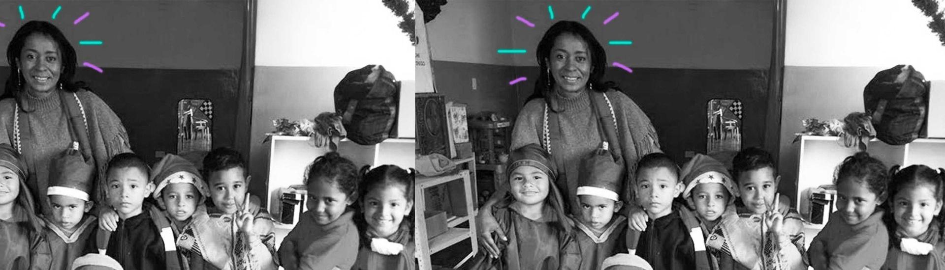 Aracelis y sus estudiantes