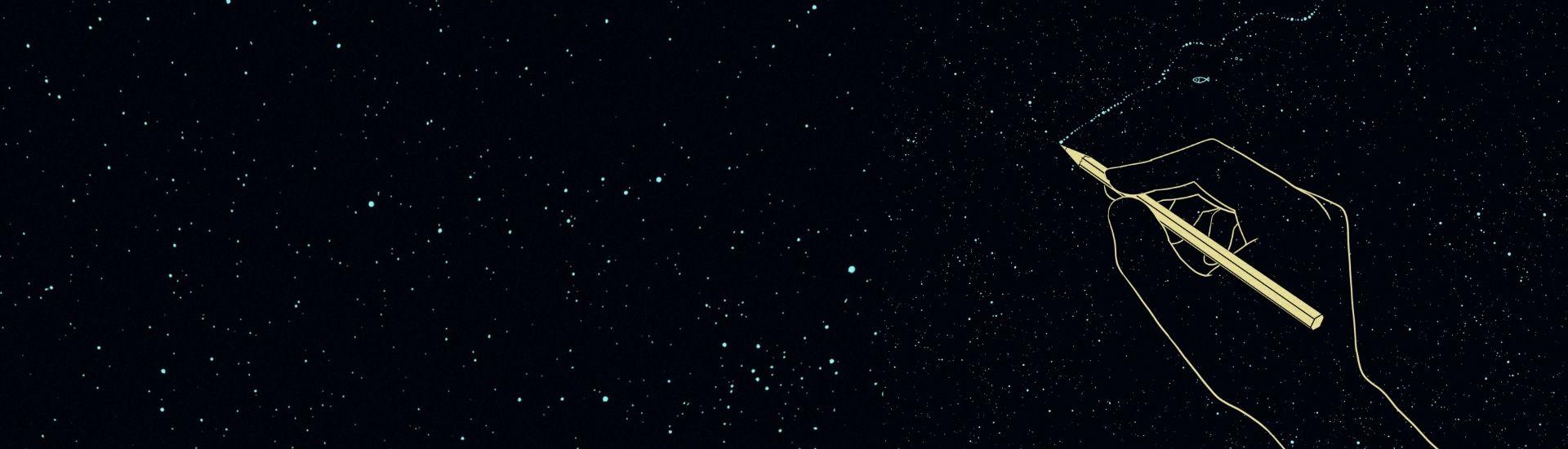 Ilustración de una mano dibujando unos peses en un cielo estrellado