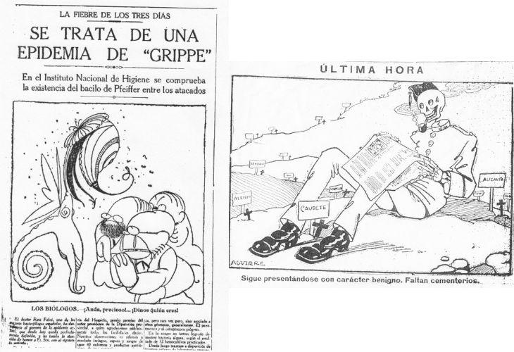 A la izquierda de la imagen se ve un artículo de la gripe española de la época, y también, a la derecha se ve una viñeta humorística haciendo referencia al soldado de nápoles