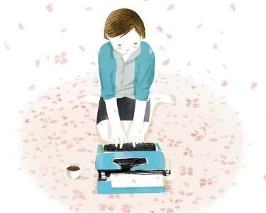Ilustración de una mamá escribiendo una carta