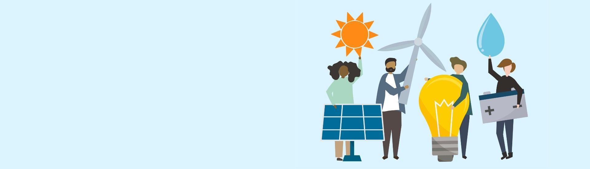 Imágenes de unas personas que sostienen elementos que pueden ayudar al cambio climático