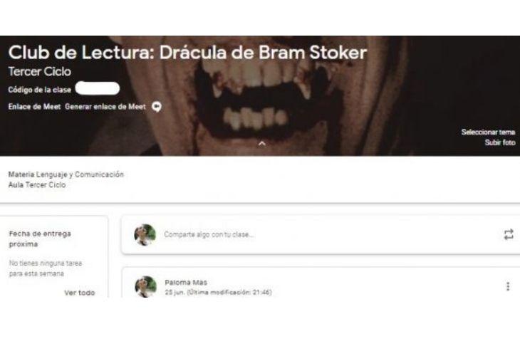 Imagen del grupo de Google Classroom de del Club de Lectura de Drácula