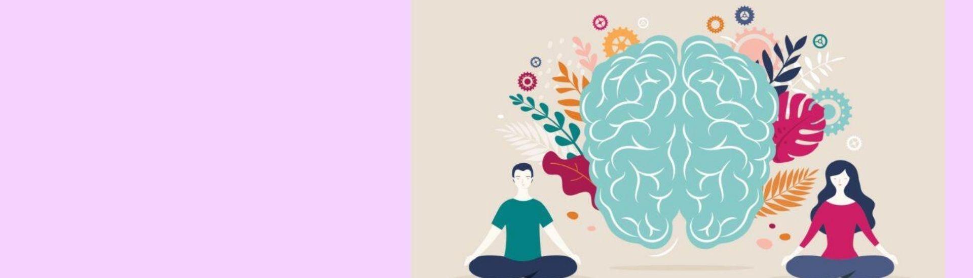 ilustración de un cerebro con dos personas concentradas alrededor