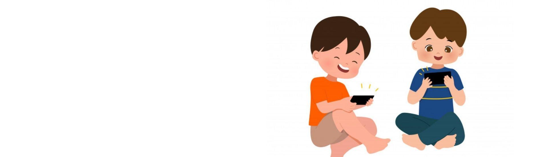 Niños aprendiendo y ejercitando con apps educativas