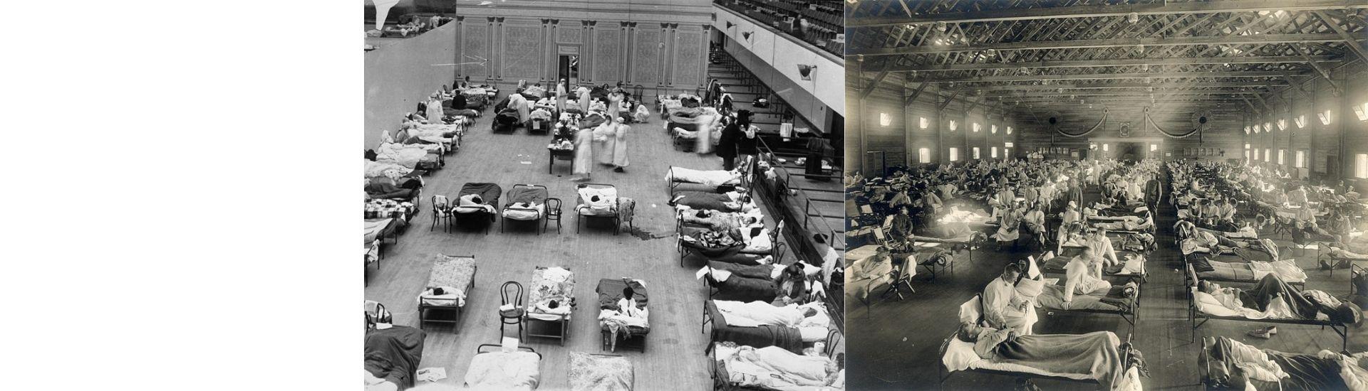 En la imagen se ven dos fotografías de la pandemia de 1918, a la izquierda se ve el auditorio municipal de Oakland y en la derecha se ve un hospital de Kansas en medio de la emergencia por el virus