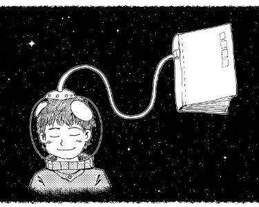 Ilustración de un niño conectado con un libro desde un casco de astronauta