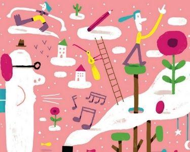 Ilustración de niños y maestro con conocimiento en su alrededor