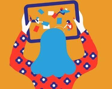 Ilustración de mujer mirando tablet