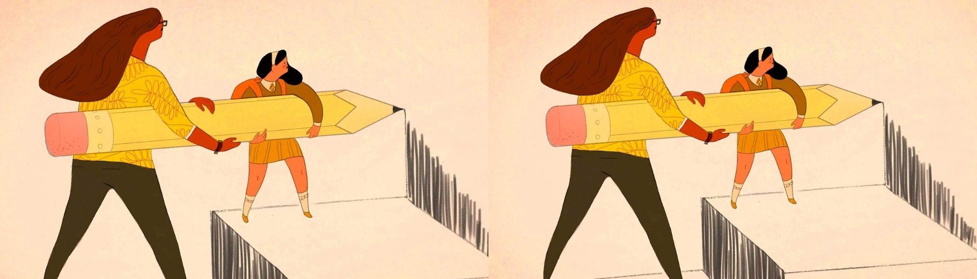 Ilustración mujeres dibujando