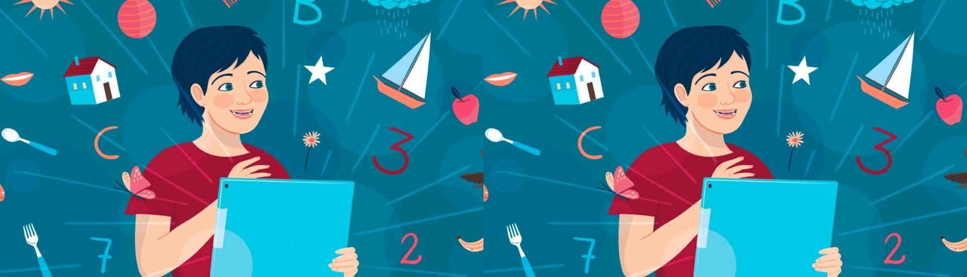 Ilustración niño con números a su alrededor y objetos