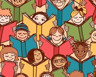 Ilustración niños y niñas leyendo