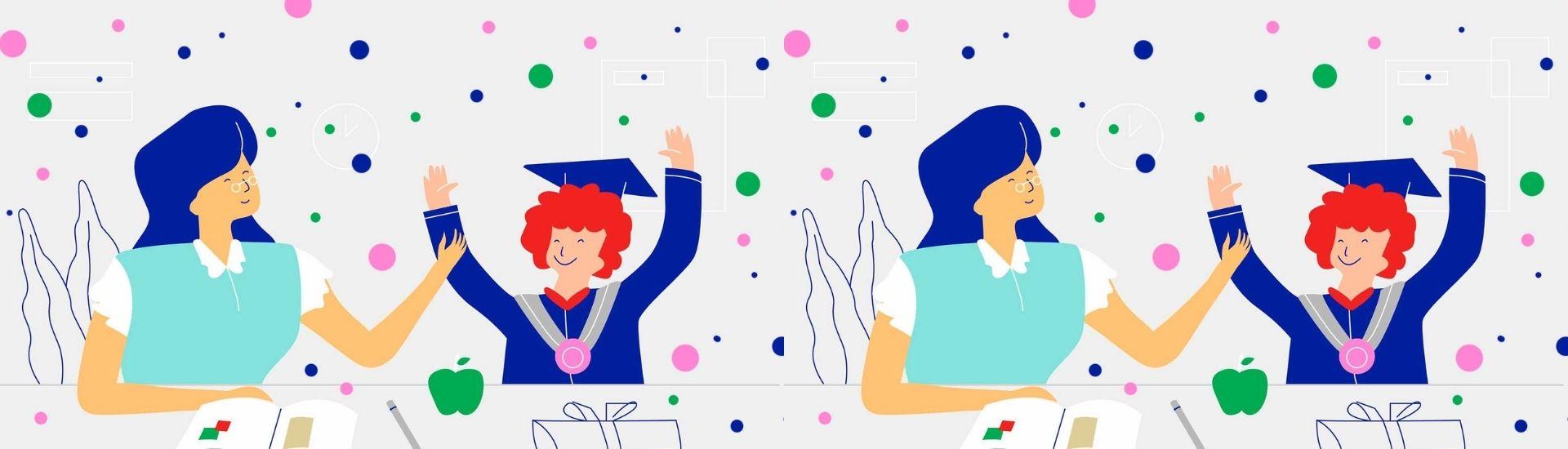 Ilustración profesor y alumno celebrando un logro