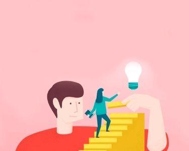 Ilustración representando la motivación por una mujer y un hombre
