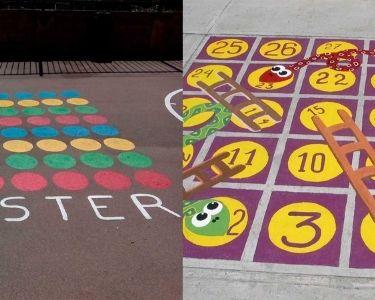 Juegos pintados en el suelo