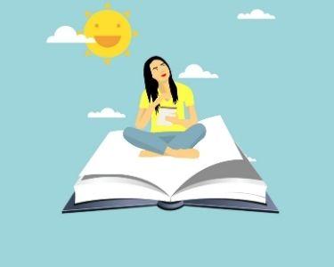 llustración de una profesora sobre un libro