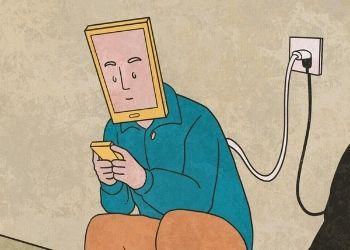 Ilustración de una persona con cara de pantalla, viendo la pantalla de un celular