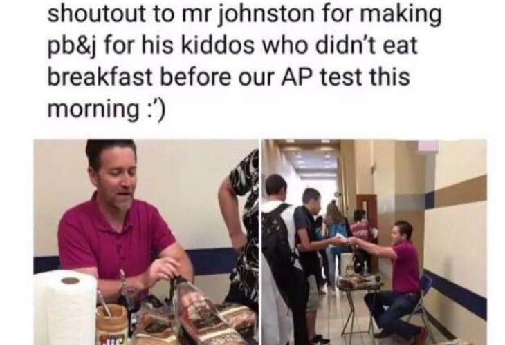 Profesor entregando sandwichs, reddit