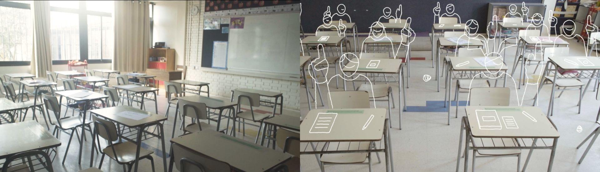 Imagen de unas salas escolares vacías, con estudiantes dibujados