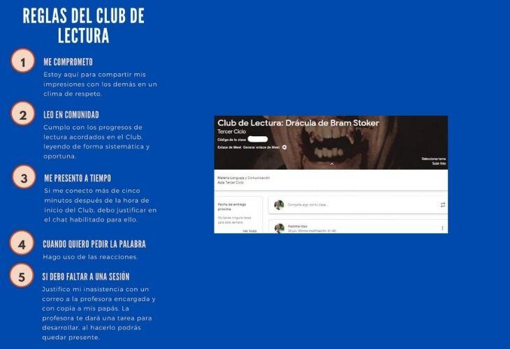 Imagen de las reglas del Club de Lectura