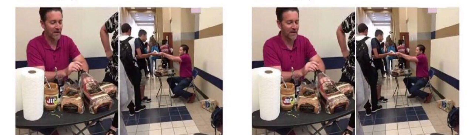 Profesor entregando sandwich a sus estudiantes